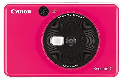 Canon Zoemini C Sofortbildkamera digital 5 MP (Sofortdruck, Sucher, Blitzlicht, Micro SD Kartenslot, Selfie Spiegel (11x8 mm), 5 x 7,6 cm Aufkleber, ZINK Druck tintenfrei) bubble gum pink