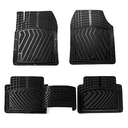OMAC Conjunto de tapetes com proteção de borracha 3D para todos os climas, acessórios internos automotivos | Revestimentos de piso de borracha resistentes dianteiros e traseiros | Serve para Jeep Renegade