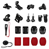 Universal Action Camera Accessory Kit for GoPro Hero 9 8 7 6 5 Blcak Go pro Max Insta360 One R/X DJI OSMO Action AKASO Sony APEMAN SJCAM Sports Cam, Helmet Base Adhesive Tripod Adapter Mount