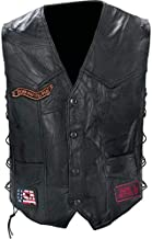 Diamond Plate™ Rock Design Genuine Buffalo Leather Biker Vest (X-Large/Black)