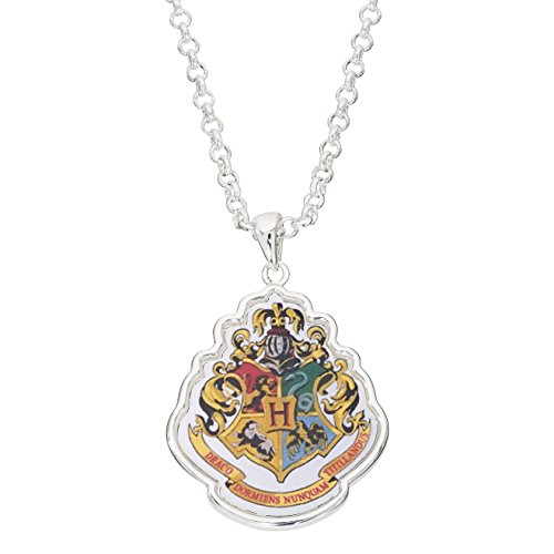 "Harry Potter Women's and Girls Jewelry Silver Plated Gryffindor House Crest Pendant, 16""+2"""