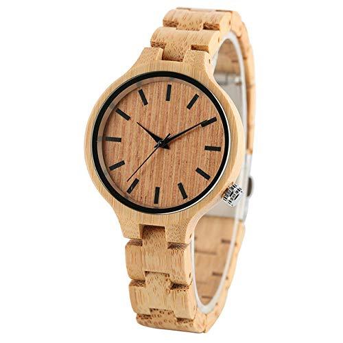 YJRIC Reloj de Madera Minimalismo, Elegante Reloj de Pulsera de Cuarzo para Mujer, Hecho a Mano, de Madera Completa, de bambú, Simple, pequeño, con Correa, Reloj de Madera para Mujer
