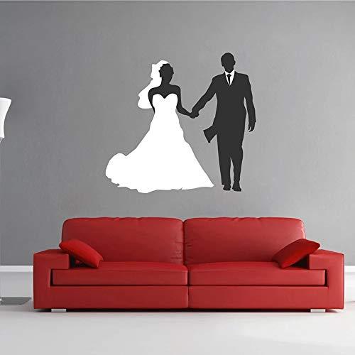 zzlfn3lv Wandaufkleber Braut und Bräutigam Brautkleid Hochzeitskleid Schaufenster Abnehmbares Wandbild Wandaufkleber Dekoration 57 * 53CM
