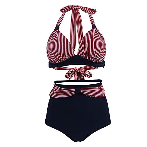 Viloree Vintage 50s Damen Bademode Bikini Set Push Up Hoher Taille Neckholder Bauchweg Gestreift Top + Blau Shorts M