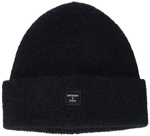 Superdry Womens SUPER LUX Beanie Hat, Black, OS