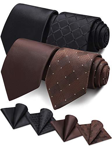 Vinlari Cravatta Uomo Seta Fazzoletto da Cravatta Set Elegante Classico Regalo con Confezione Matrimonio con Cravatta Fazzoletto da Taschino 4 PCS(Nero + Marrone)