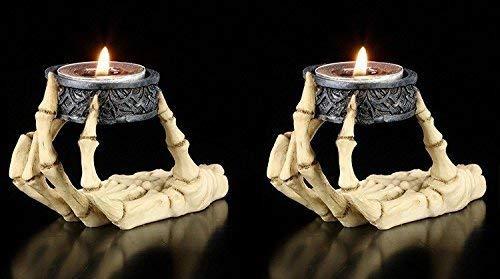 Skeletthand Teelichthalter 2er Set | Fantasy Gothic Kerzenständer Kerzenhalter