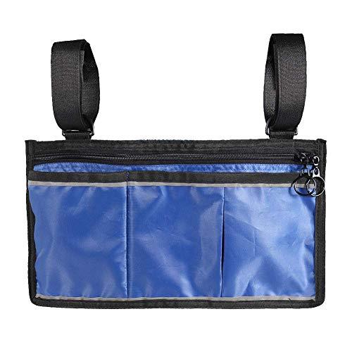 Reuvv Rollstuhl Tasche, Seite Tasche Multifunktional Armstütze Tasche Ordner Tasche Handy Taschen für Meisten Bett Rail Roller Walker Elektrisch und Manuell Elektrischer Rollstuhl - Blau