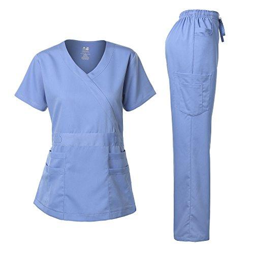 Women's Scrubs Set Stretch Ultra Soft Y-Neck Wrap Top and Pants Ceil Blue XL