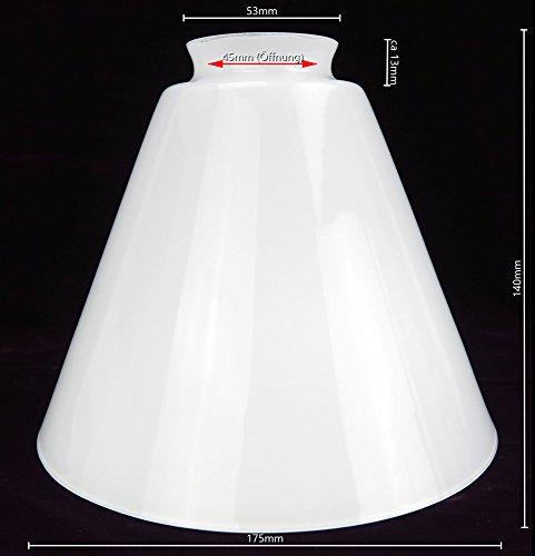 Lampenschirm antik-Stil weiß kegelförmig Glas Glasschirm Milchglas matt Jugendstil