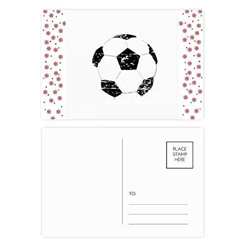 Eenvoudige Zwarte Voetbal Patroon Voetbal Kerstmis Bloem Ansichtkaart Thanks Card Mailing 20 stks