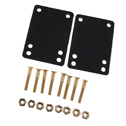 2 Stück 3mm Riser Pads mit 8 Stück 29mm Schraubenmuttern Montage Set für Skateboard Longboard