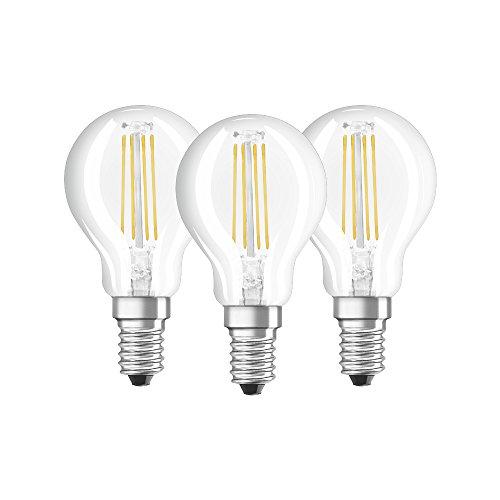 Osram LED Base Classic P Lampe, in Tropfenform mit E14-Sockel, nicht dimmbar, Ersetzt 40 Watt, Filamentstil Klar, Warmweiß - 2700 Kelvin, 3er-Pack