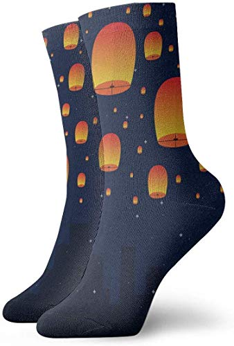 Tammy Jear Sky Lantern in City Night Chaussettes de compression antidérapantes Cozy Athletic 11,8 pouces Crew Chaussettes pour hommes, femmes, enfants