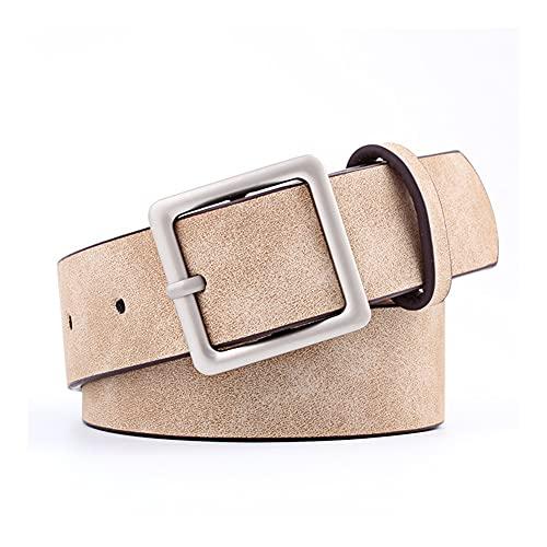 ZCPCS Ajustable clásico Plata Cuadrado Hebilla Elegante cinturón Mujeres 8-Colores Mujeres más tamaño Delgado PU Cinturón de Cuero para Pantalones de Jeans para Todo Partido Pantalones Pant