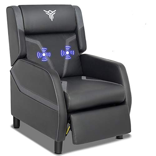 Massage Gaming Recliner Chair with Footrest Racing Style, Single Ergonomic Lounge Sofa Modern PU Leather Reclining Home Theater Seating for Living & Gaming Room (Black+Blue)