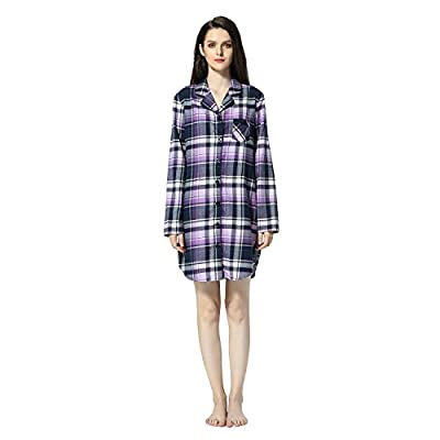 Women's Plaid Flannel Shirt Dress Blouse Mid-Long Style Boyfriend Plaid Sleepshirt