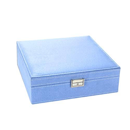 LUYANhapy9 Joyero de Dos Capas de Madera con Cierre - Azul - Talla única