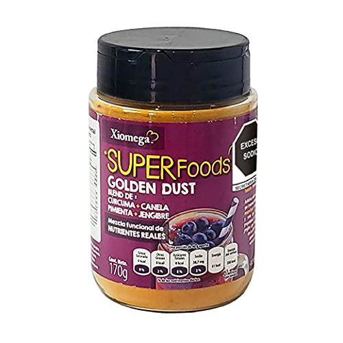 Xiomega Superfoods - Golden Dust - Mezcla Antioxidante en Polvo - Ideal para Preparar Golden Milk y Enriquecer Alimentos y Otras Bebidas - 170 Grs