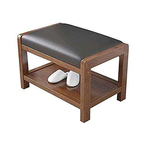 N/Z Home Equipment Schuhregal Bank Massivholz Schuhschrank Fußhocker Schuhregal PU-Pad Wasserdicht gepolstert Sofa Hocker Tür Holzfarbe Kann Schuhregal Schuhbank sitzen