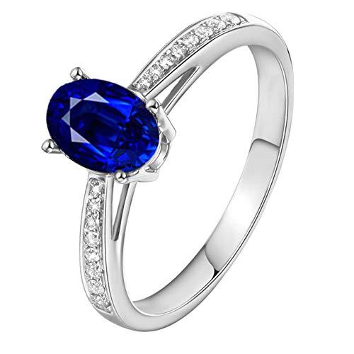 ANAZOZ Echtschmuck 18 Karat 750 Gold Damen Ringe 0.52CT Saphir Ovaler 4 Stift Verlobungsringe Silber Schmuck 53 (16.9)