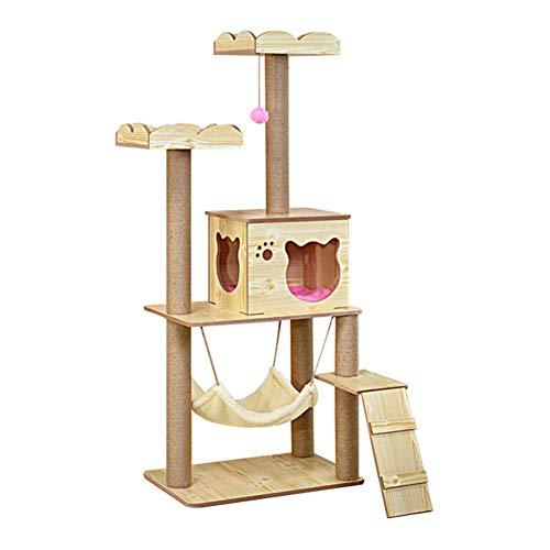 LSYOA Multi-Level Cat Tree Condo, Houten Kat Toren Kat Meubels met Speelhuis Hangmat Platforms Krabpalen