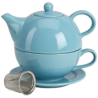 Omniware 1500133 5 Piece Tea For One Teapot Set with An Infuser, Turquoise