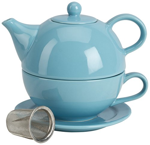 Omniware 5 Piece Tea For One Teapot Set with An Infuser, Turquoise