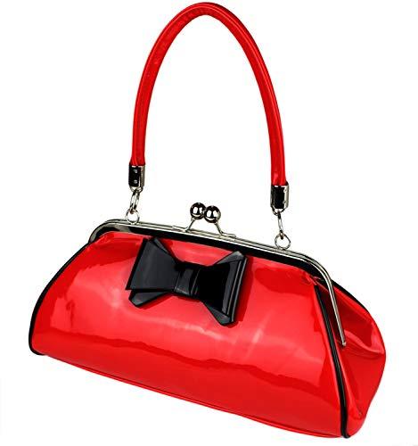 Schompi Damen Vintage Lack-Tasche mit Dekorativer Schleife, Schwarz Rot, Retro, Rockabilly Handtasche Abendtasche, Farbe:Rot