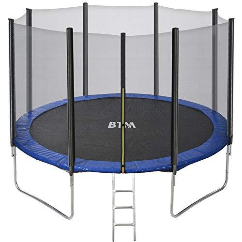 Pumpumly Cama elástica de 12 pies de alta especificación con hoja de salto, redes de recinto de seguridad, escalera y kit de anclaje, trampolín al aire libre para adultos/niños