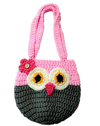 Life Space Cute Happy Owl Mini Purse / Handbag, Nature Soft Cotton/Milk Fiber, Crochet, Handmade - Great Special Gift for 2,3,4,5,6 Year Preschool Girls (pink)