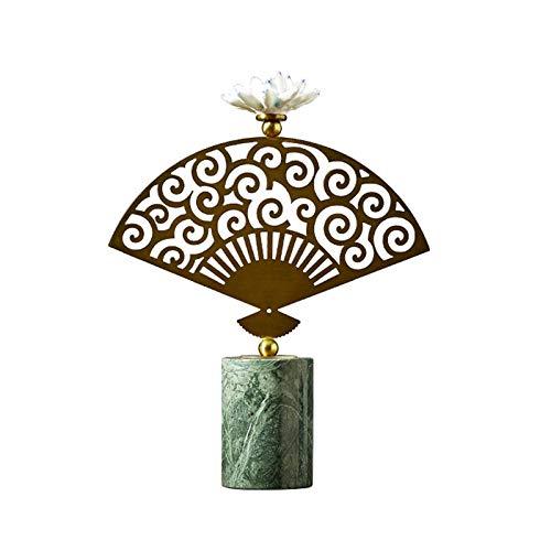 Decoración Moderna del hogar Adornos de loto en forma de fan, material de mármol, decoración para el hogar estilo moderno adornos decorativos de oro para sala de estar, dormitorio, escritorio de ofici