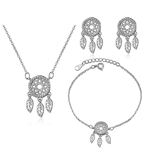 HCMA Conjunto de Joyas de Elemento de atrapasueños de Plata 925, Colgante de Borla, Collar, Pulsera, Pendientes para Mujer, Regalo, Conjunto de joyería para Fiesta de Boda