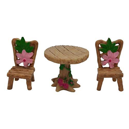 teng hong hui Silla Tabla de Resina Mini Juego de Muebles de jardín Micro Paisaje en Miniatura Musgo Ornamento Muebles