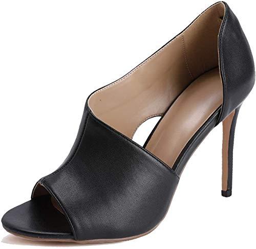 PiePieBuy Women's Stiletto High Heel Slip-on Open Toe Shoes Side Cut Out Dress Sandals Black