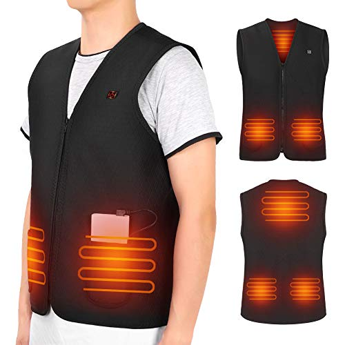 Heated Vest, USB Heating Jacket Body Warmer Heating Cloth With 5 PCS Built-in Heating Therapy Pad for Cold Winter Outdoor Activities Hunting Camping Hiking Skiing(Power Bank Not Included)
