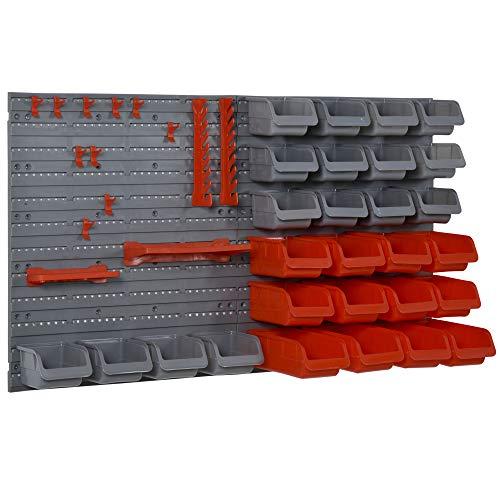 DURHAND Estante de Pared Organizador para Herramientas Estanterías de Almacenaje con 28 Cajas Apilables y Diferentes Ganchos 63,5x22,5x95,5cm Gris y Rojo