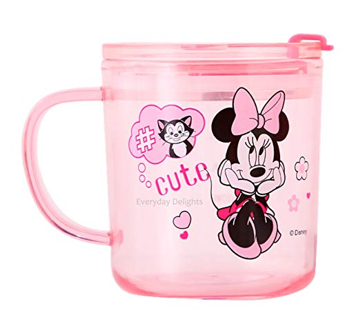 Disney Minnie Pink Durable Cup Clear Plastic Cup Mug with Lid & Straw, 300ml