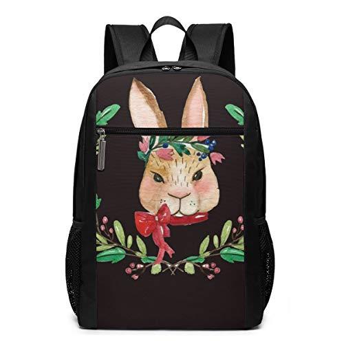 Rabbit Bowknot Garland Flower Boys Girls Book Bag 17 Inch Backpack Personalized Cool Junior High School Travel Sport Bags Laptop Backpacks for Men Women