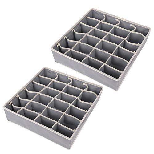 2PCS Organizador Cajones, 24 Celdas Plegable Ropa Interior Cajas de Almacenamiento para almacenar Calcetines, Sujetador, Bufandas (gray)