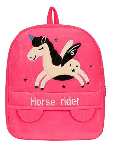 Frantic Velvet Kids School/Nursery/Picnic/Carry/Travelling Bag Backpack- 2 to 5 Year Age(Pink Hourse )