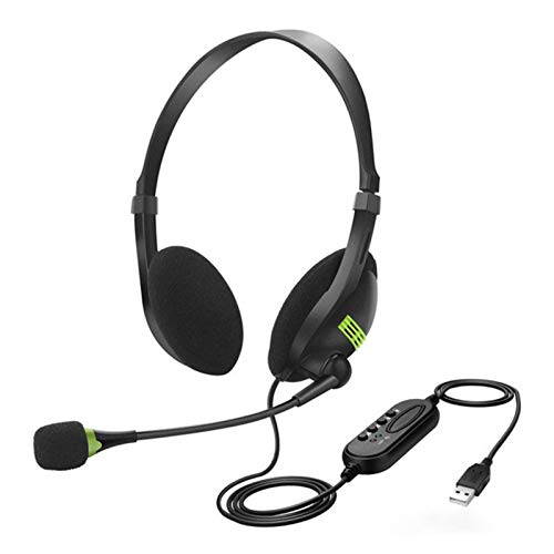 PC Headset Mit Mikrofon USB Mit Noise Cancelling Mikrofon und Lautstärkeregler, Webinar, Homeoffice, Call Center, Superleicht, Ultra Komfort