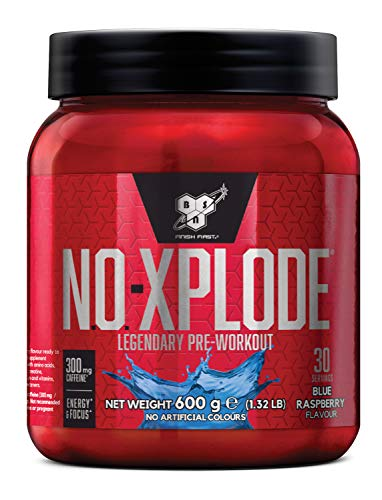 BSN Nutrition N.O.-Xplode Pre Workout Powder with Creatine Monohydrate, Beta Alanine, Caffeine, Vitamin D and Vitamin B Complex, Blue Raspberry, 30 Servings, 600 g