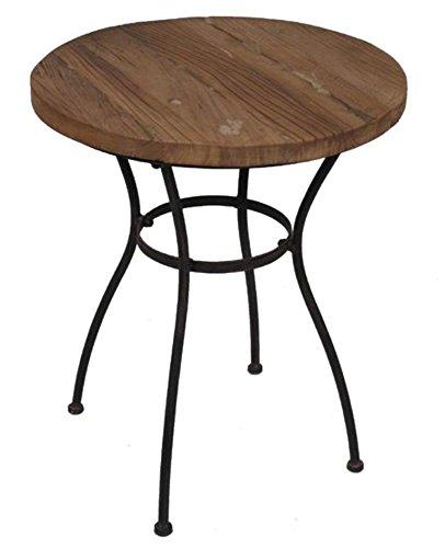 San Marco Tisch Beistelltisch rund, Platte aus altem Ulmenholz 77920