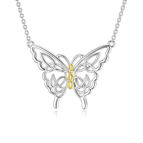 PELOVNY Butterfly Necklace for Women Sterling Silver Butterfly Pendant Celtic Knot Butterfly Necklace for Women Lovers