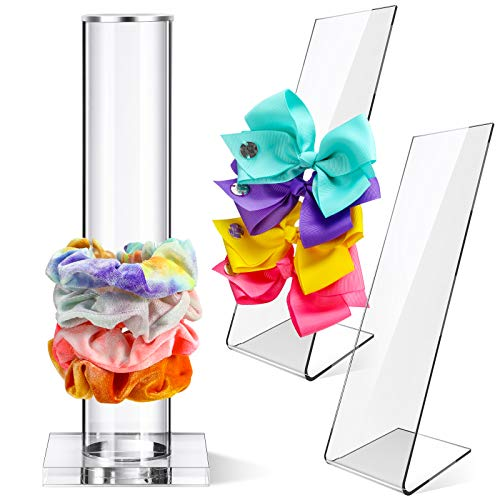 3 Pieces 10 Inch Acrylic Scrunchie Holder Stand Clear Jewelry Vertical Bracelet Display Organizer Hair Ties Hair Band Holder Acrylic Hair Clip L-Shaped Hairpin Display Holder for Teen Girls