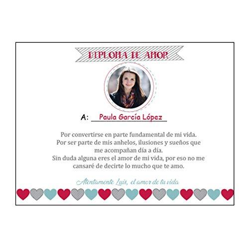 Kembilove Diploma de Amor Personalizado para Pareja con Foto – Regalo Original San Valentin con Nombre – Diploma de Amor para Aniversario, Cumpleaños, San Valentín – Regalo Original Parejas