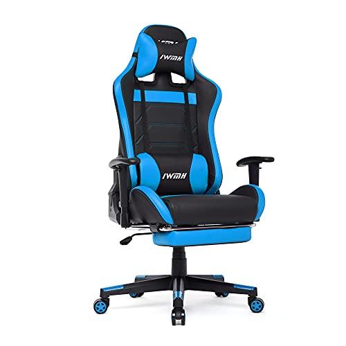 Intimate WM Heart Gaming Stuhl, Racingstuhl, Racing-Gamerstuhl, Ergonomischer Computerstuhl mit Fußstütze, Drehstuhl mit hoher Rückenlehne (Blau)