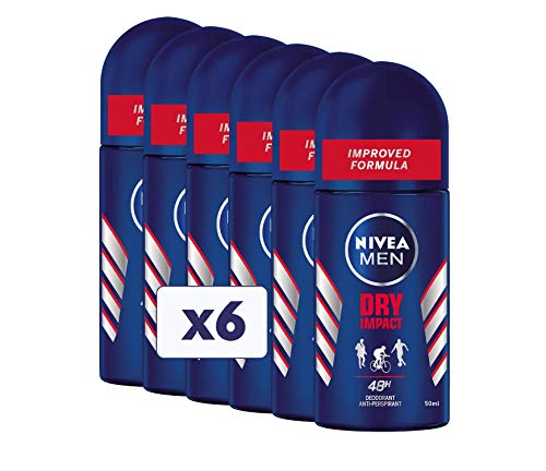 Nivea Dry Impact Men deodorant Roll-On, 6 verpakkingen à 50 ml