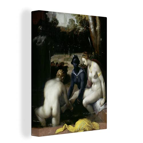 MuchoWow Photo sur toile - La toilette de Bethsabée - Peinture de Cornelis Cornelisz. van Haarlem - 60x80 cm - Avec Cadre